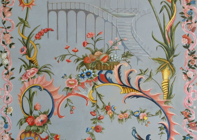 Decorative chinoiserie wall painting featuring a Chinese pavilion and a central basket detail adaptation after Cornelis t Kindt