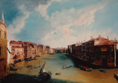 Oil painting reproduction of The Grand canal from Balbi Palace to Rialto Bridge after Canaletto
