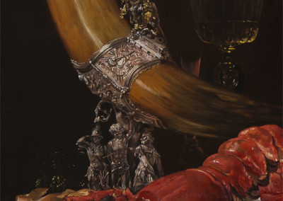Reproduction in Oil Of Still Life with Drinking Horn after Willem Kalf - detail