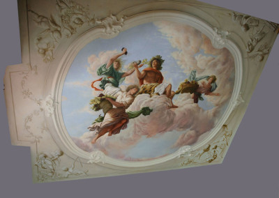 17th C style ceiling with central Autumn Harvest theme and grisaille corners
