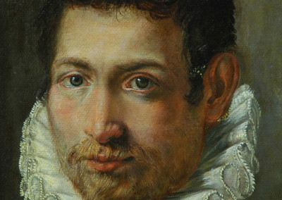 Oil reproduction of Portrait of a Young Man, after an anonymous artist - detail