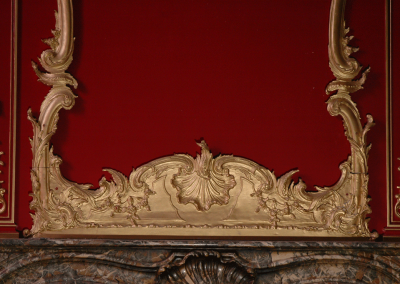 Adaptation of an 18th C mirror base cast in polyurethane and painted gold