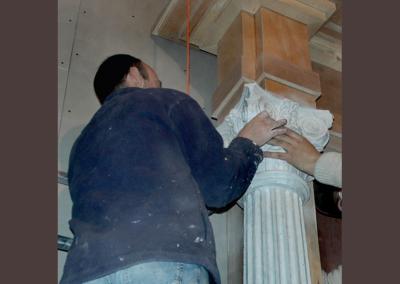 Placing the capital on a column