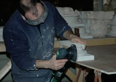 Finishing the bases of sections of plaster casts of 18th C Columns