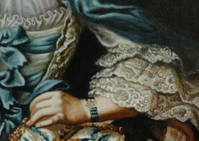 From photo to portrait painting of a cat in an 18th C style with blue silk cape in oil - detail 2