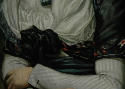 From photo to portrait painting of a cat in oil on canvas in a 18th C portrait style - detail 2
