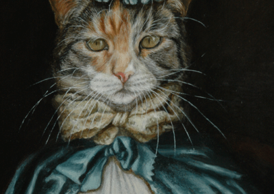 Photo to portraitPortrait painting of a cat in an 18th C style with blue silk cape in oil - detail 1