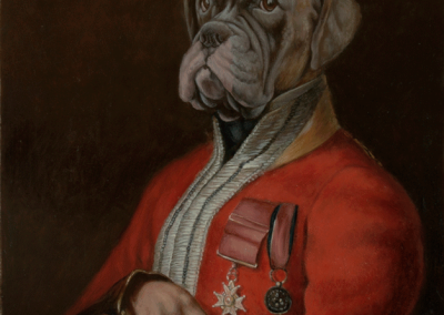 From photo to portrait painting of a dog as a 19th C military Colonel in oil on canvas