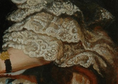 From photo to portrait painting of a cat in an 18th C style with blue silk cape in oil - detail 3