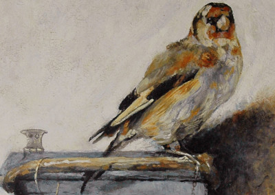 An oil on canvas reproduction of The Goldfinch after Carol Fabritius - detail