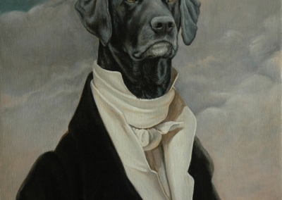 Fhoto to portrait, painting of a dog as an 18th C aristocrat in oil on canvas