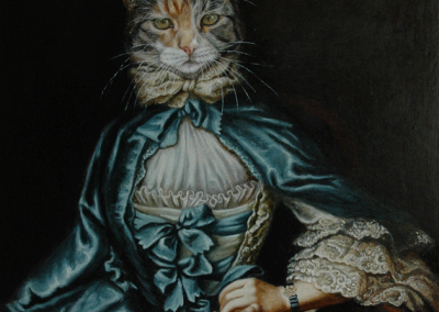 From photo to portrait painting of a cat in an 18th C style with blue silk cape in oil