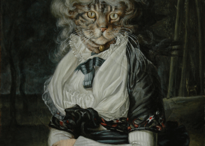 From photo to portrait of a cat in oil on canvas in a 18th C portrait style