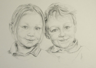 From photo to portrait of a brother and sister in graphite on paper