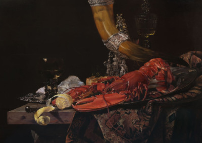 Oil reproduction of Still Life with Drinking Horn, after Willem Kalf