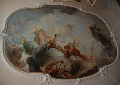 18th C style ceiling painting in oil