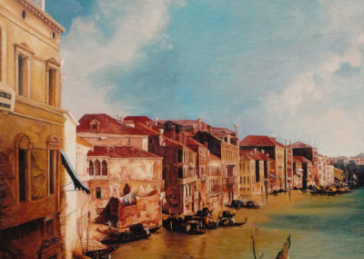 Detail - Oil painting copy of The Grand canal from Balbi Palace to Rialto Bridge after Canaletto