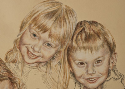From photo to portrait, a portrait drawing of three children in tinted charcoal - detail