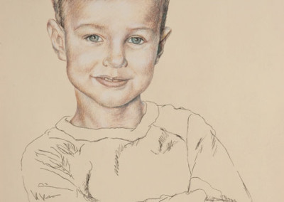 From photo to portrait in tinted charcoal of a young boy.