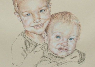 From photo to portrait drawing of two young brothers in tinted charcoal on paper