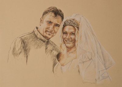 Portrait drawing in tinted charcoal of a wedding couple