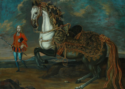 Oil on canvas copy of Horse and Cavalier, after Richard Hamilton