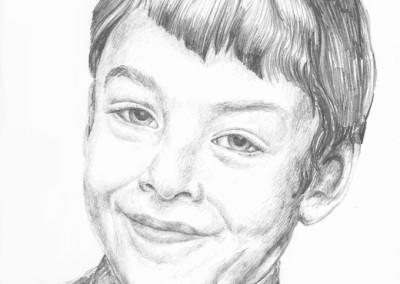 Pencil portrait of a young boy