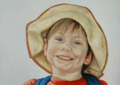 From photo to portrait painting of Boy with straw hat in oil