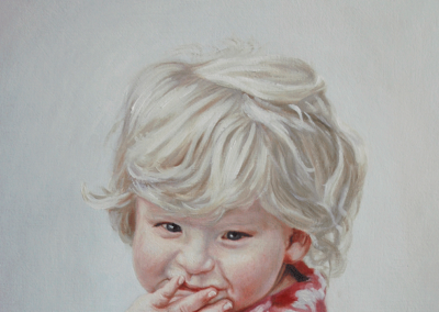 From photo to portrait painting of Little Girl in Pink Top in oil