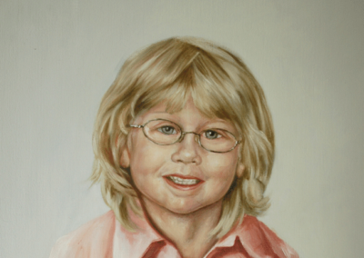 From photo to portrait painting of boy with glasses in oil on canvas
