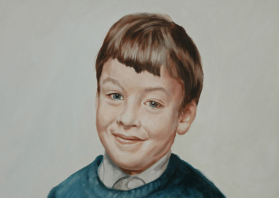 From photo to portrait painting of me at six in oil on canvas