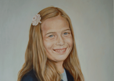 From portrait painting of a girl with flower in her hair in oil on canvas