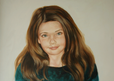From photo to portrait painting of a young girl in oil