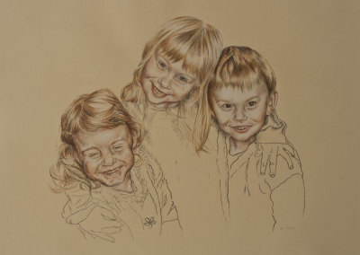 Portrait drawing of three children in tinted charcoal