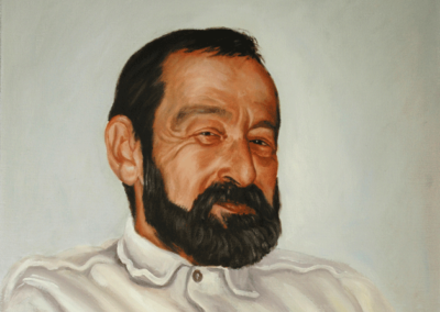 From photo to portrait painting of Papapp in oil
