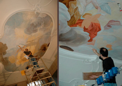 First layers of The Apotheosis of Aeneas ceiling painting, adapted after an oil sketch by Jacob de Wit