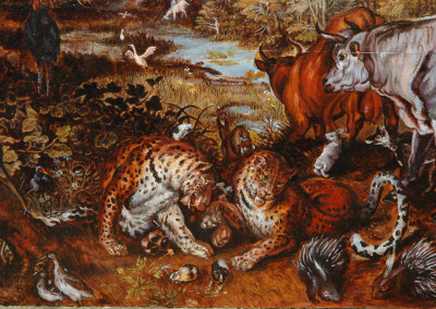 Detail of an oil reproduction on wood of Earthly Paradise, after jan Brueghel