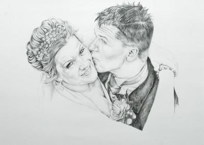 Wedding portrait in graphite pencil on paper