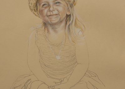 Portrait drawing of a young girl in straw hat in tinted charcoal