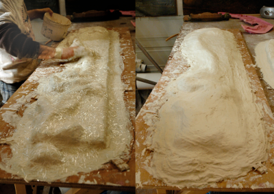 Moulding an 18th C mirror frame fo casting a reproduction