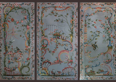 Decorative Chinoiserie wall paintings in oil on canvas, adapted after Cornelius t Kind