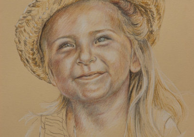 Portrait drawing of a young girl in straw hat in tinted charcoal - detail